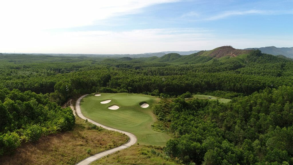 Aerial image from above the 12th tee and looking down at the green and surrounding vegetation, Ba Na Hills Golf Club, Da Nang, Vietnam