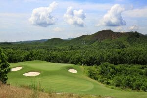 Image of the raised 12th green and surrounding bunkers at Ba Na Hills Golf Club, Da Nang, Vietnam