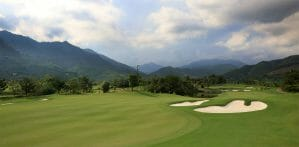 Image of the 7th hole and panoramic views at Ba Na Hills Golf Club, Da Nang, Vietnam