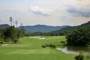 Image from the 1st Tee looking towards the green at Ba Na Hills Golf Club, Da Nang, Vietnam