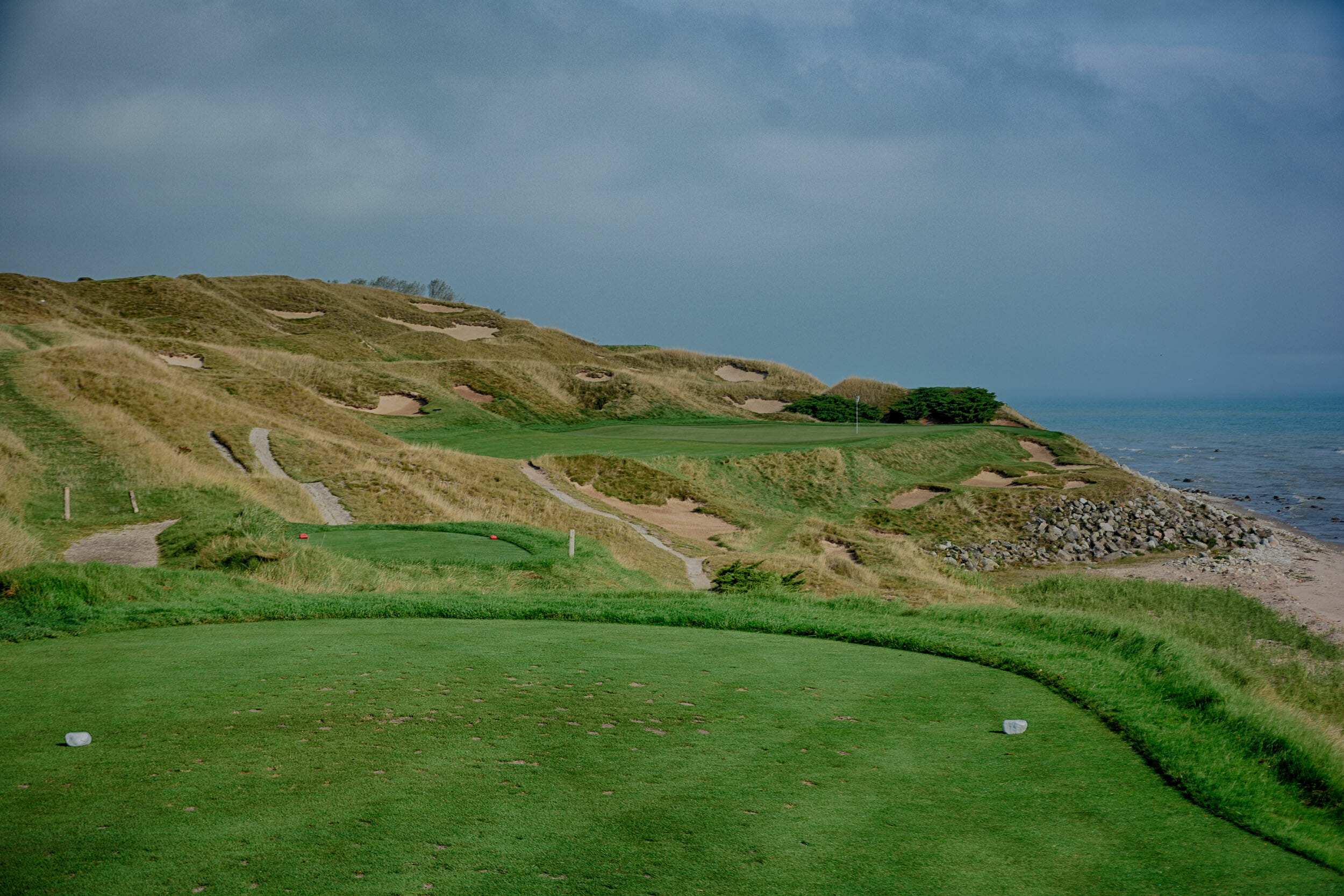 Image of the 7th tee on The Straits course at Whistling Straits, Destination Kohler, Sheboygan, Wisconsin, USA
