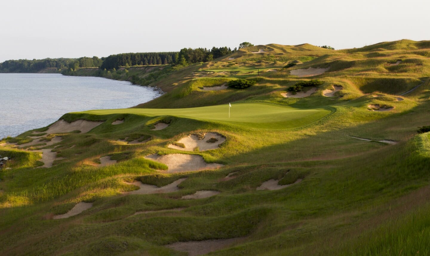 Image of the approach to the 3rd green on The Straits Golf Course, Whistling Straits, Destination Kohler, Sheboygan, Wisconsin, USA
