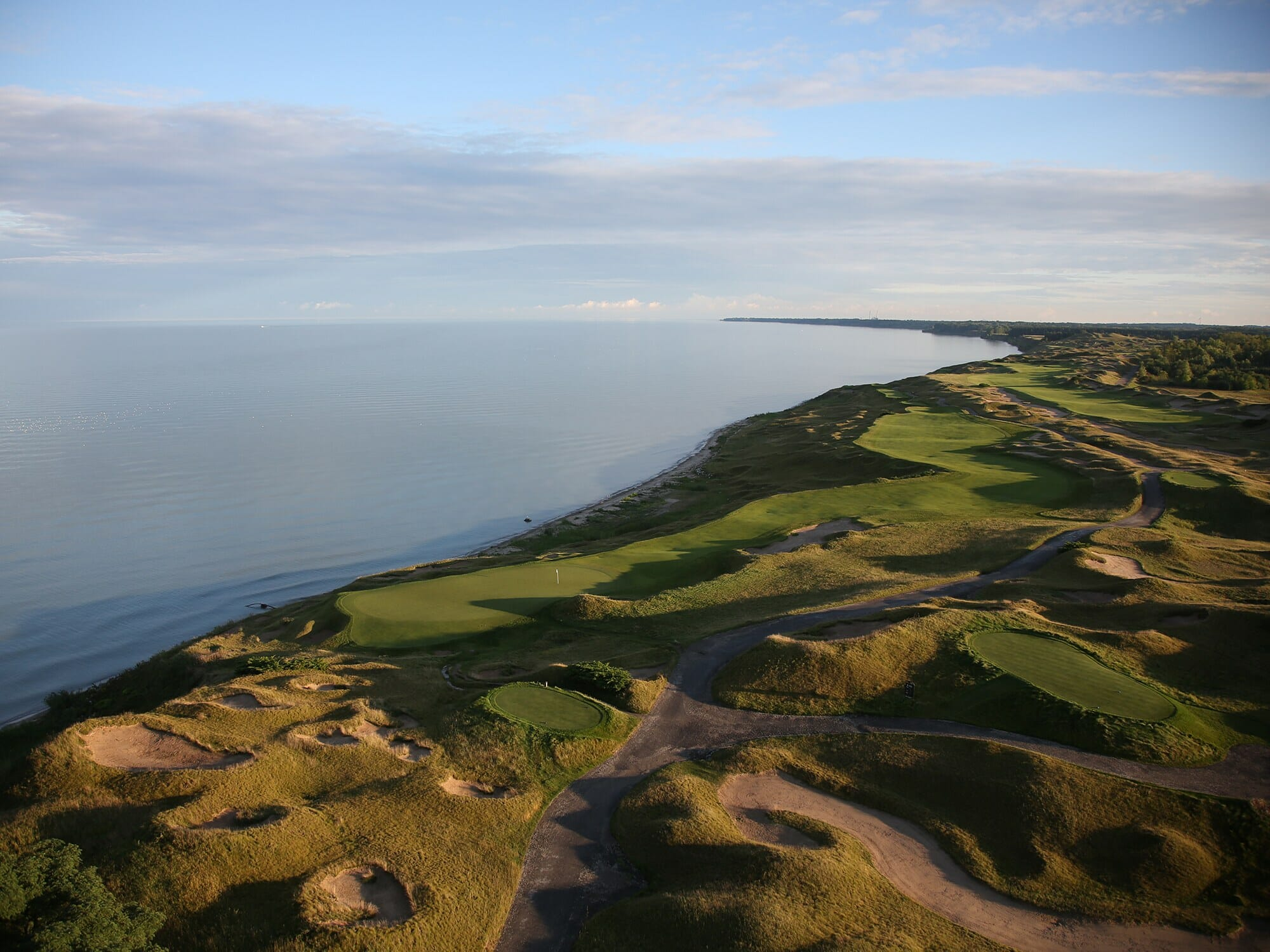 Aerial image of The Straits Golf Course next to Lake Michigan, Whistling Straits, Destination Kohler, Sheboygan, Wisconsin, USA