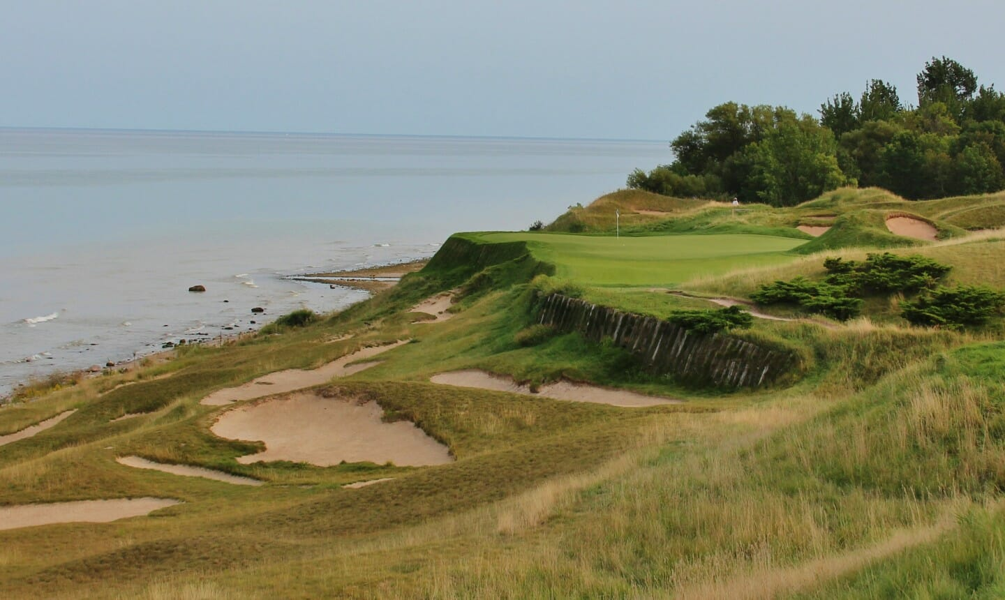 Image of the 17th plateaued green on The Straits golf course at Whistling Straits, Destination Kohler, Sheboygan, Wisconsin, USA