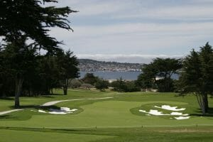 Large bunkers flank the seventh hole which overlooks a nearby bay