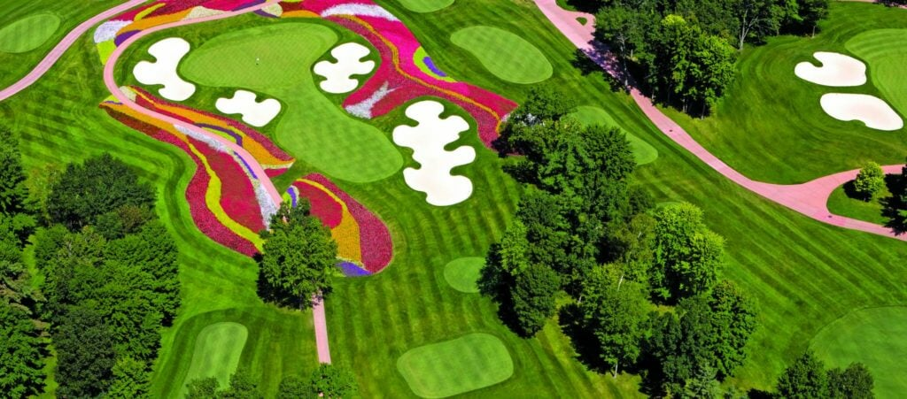 Birds-eye-view of colourful flowers on the sixteenth green at Sentryworld Golf Club