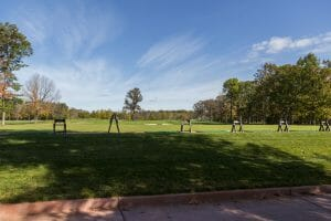The practice area consists of artificial grass and real grass