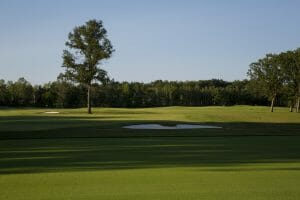 The practice area is flat at Sentryworld Golf Club