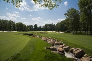 A creek snakes its way through the ninth hole