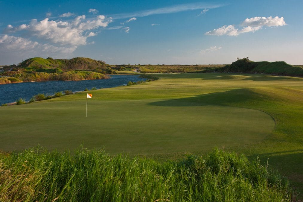Overlooking the Red Golf Course fifth hole at Streamsong Golf Resort in Florida