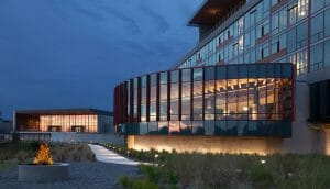 External view of the architecturally designed Streamsong Golf Resort main building in Florida