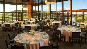Interior view of fine dining in the clubhouse at Streamsong Golf Resort in Florida