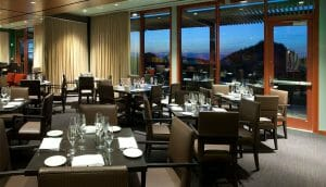Interior view of the dining restaurant Fifty Nine at Streamsong Golf Clubhouse in Florida