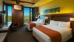 Interior view of a twin bedroom at Streamsong clubhouse accommodation in Florida