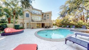 External view of a swimming pool at a rental home at Palmetto Dunes Golf Course, Hilton Head