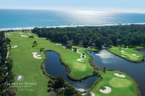Aerial view four golf holes and the Atlantic Ocean at Palmetto Dunes Golf Course, Hilton Head