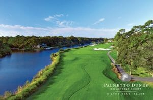 Aerial view of the sixteenth hole at Palmetto Dunes Golf Course, Hilton Head