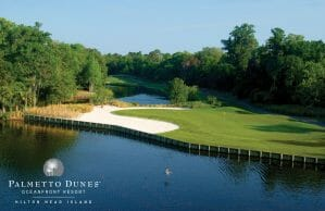 A bird flies over a lake that is adjacent to a golf green at Palmetto Dunes Golf Course, Hilton Head
