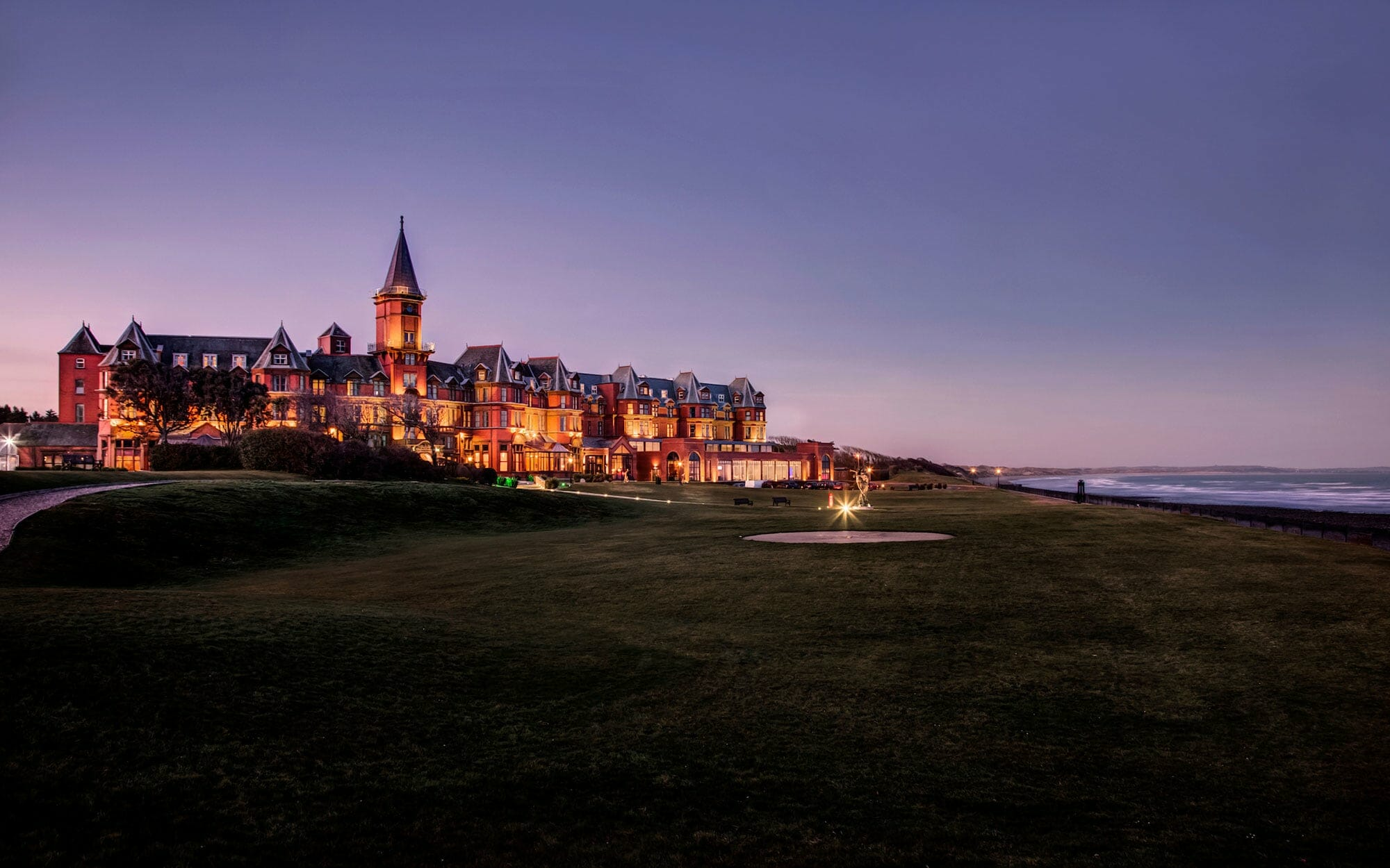 Twilight view of the Slieve Donard Resort and spa, Northern Ireland