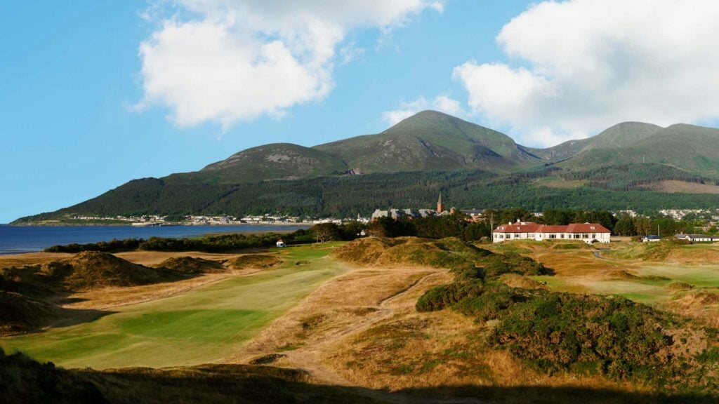 Exterior view of the Royal County Down Golf Course and Slieve Donard Resort spire
