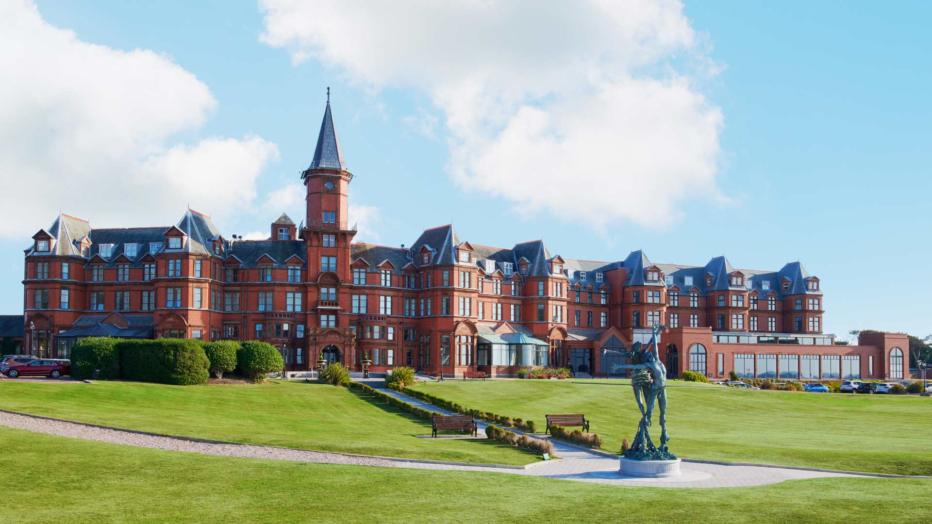 External view of the main resort building at Slieve Donard Hotel
