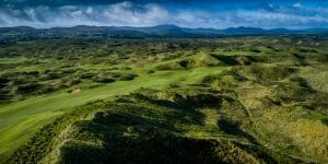 Overlooking the undulating ground of the Old Tom Morris Golf Course fifth fairway at Rosapenna Golf Resort, Ireland