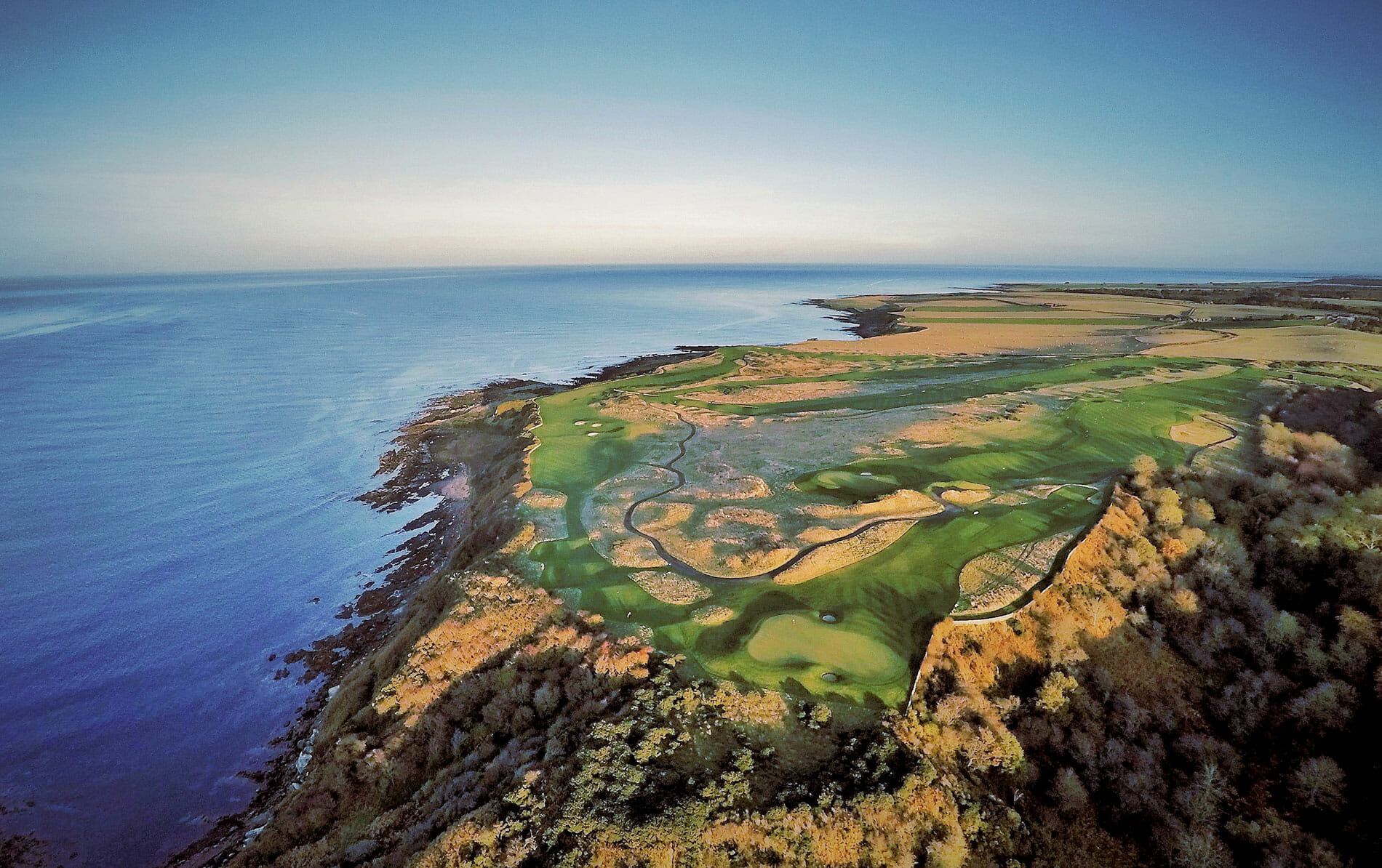 Aerial view of the Torrance and Kittocks Golf Courses at The Fairmont Hotel, St Andrews