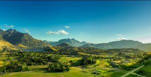 Landscape view of the Millbrook Valley near Queenstown, New Zealand