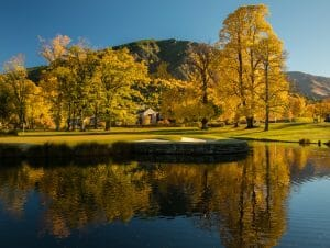 Image of autumn trees on the golf course in Arrowtown's Millbrook Resort