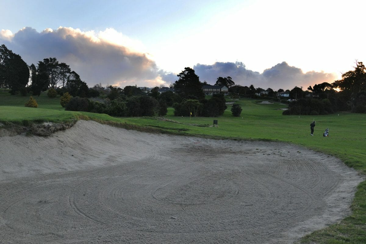 Dusk image of the golf practice facilities at Titirangi Golf Club, New Zealand