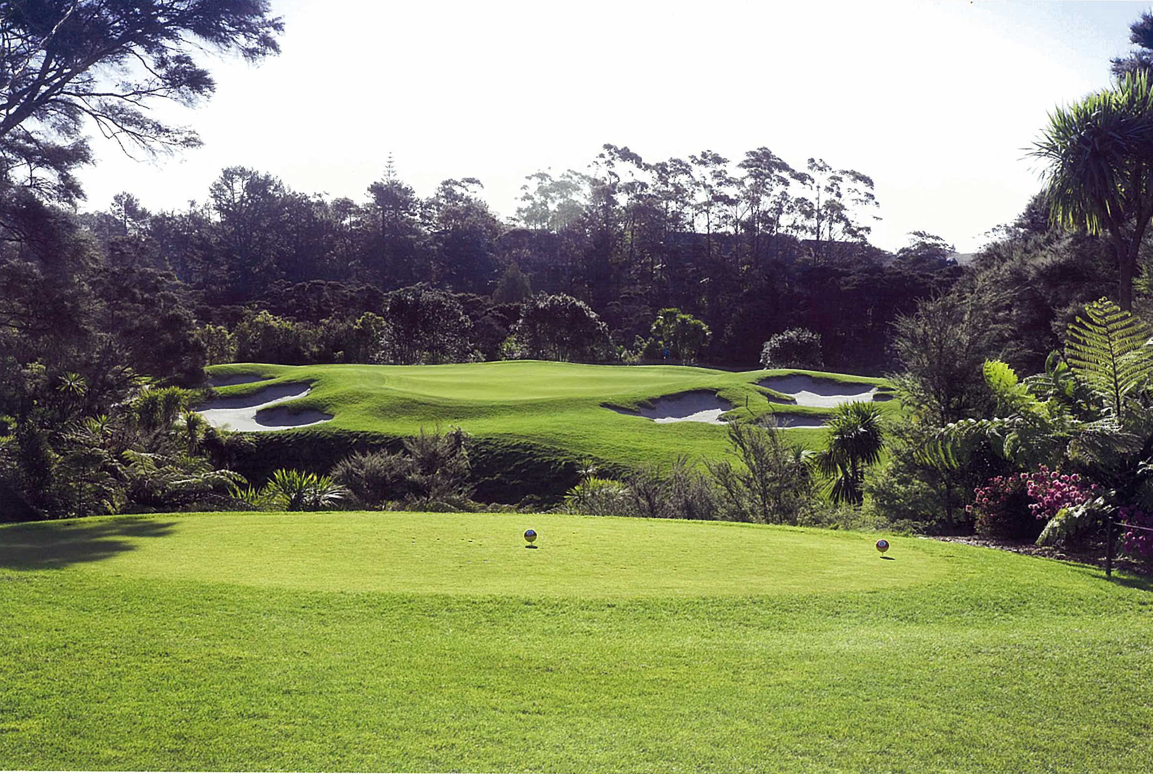 Image overlooking the 14th tee and par-4 at Titirangi Golf Course, New Zealand