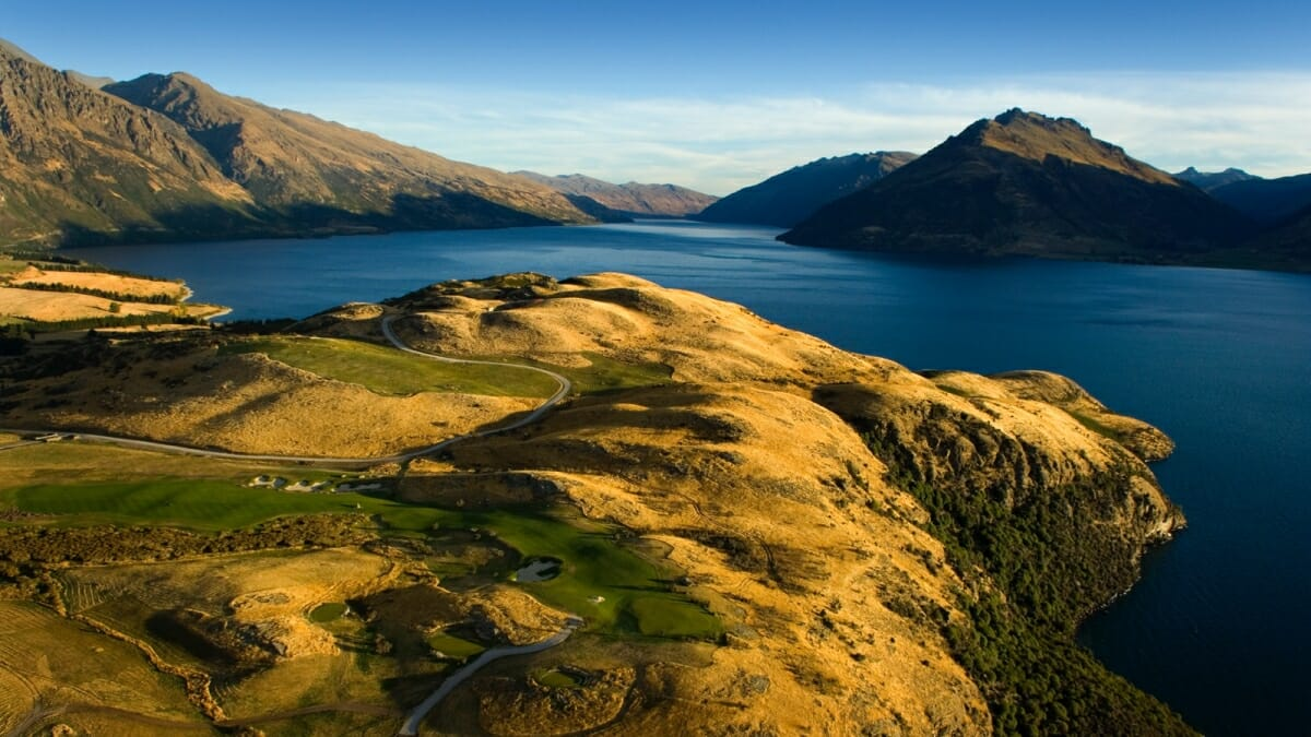 Aerial image of the modern links golf course at Jack's Point, Queenstown