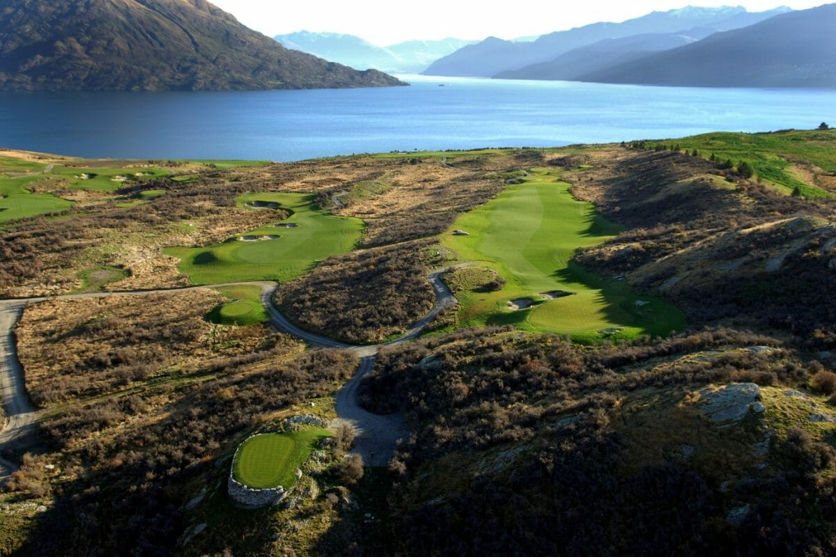 Aerial image of Jack's Point Golf Course next to Lake Wakatipu, Queenstown