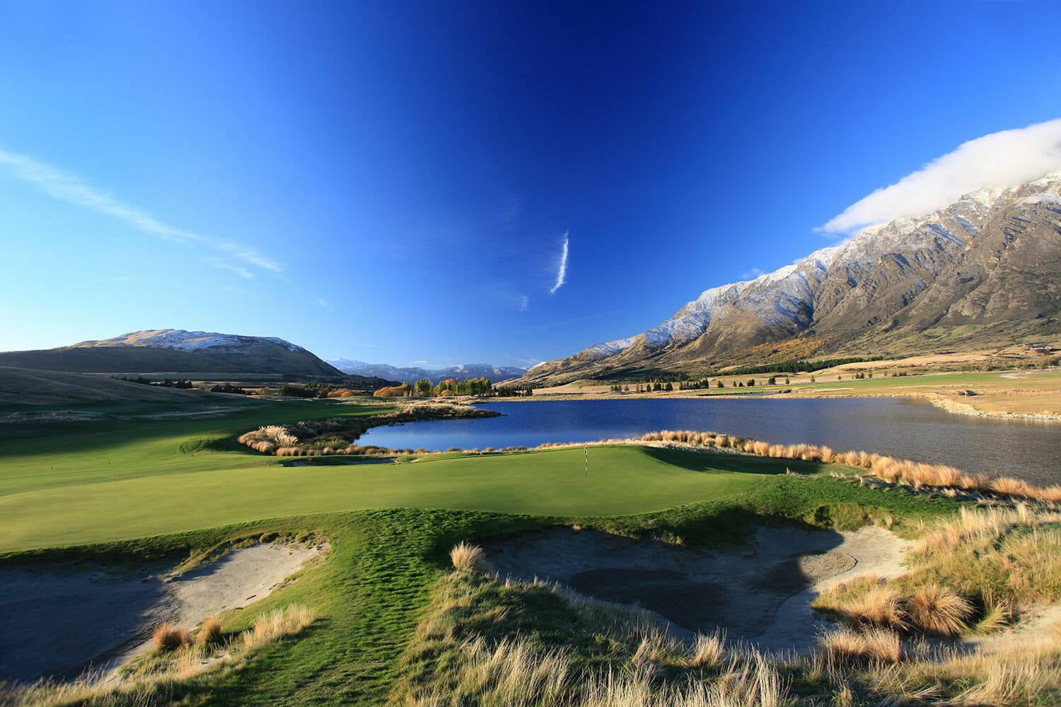 Scenic image of Jack's Point Golf Course, Lake Wakatipu and The Remarkables Mountain Range, New Zealand