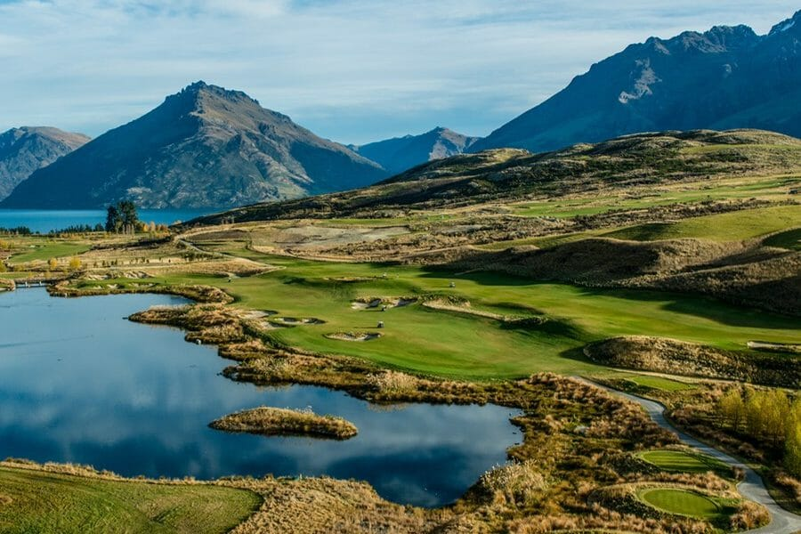 Aerial image of Lake Wakatipu and Jack's Point Links Golf Course