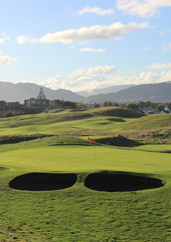 Image of pot bunkers next to a green at Paraparaumu Beach Golf Links