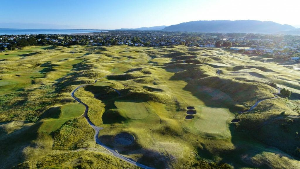Aerial image of the golf links course and surrounding suburbs at Paraparaumu, New Zealand
