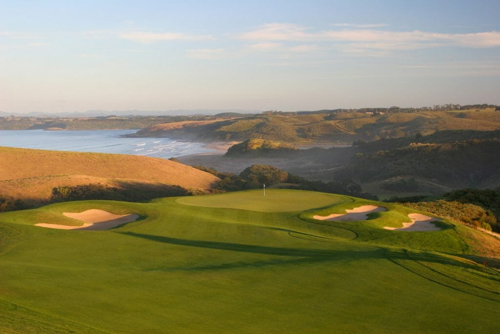 Dusk image overlooking the 4th hole at Kauri Cliffs Golf Course
