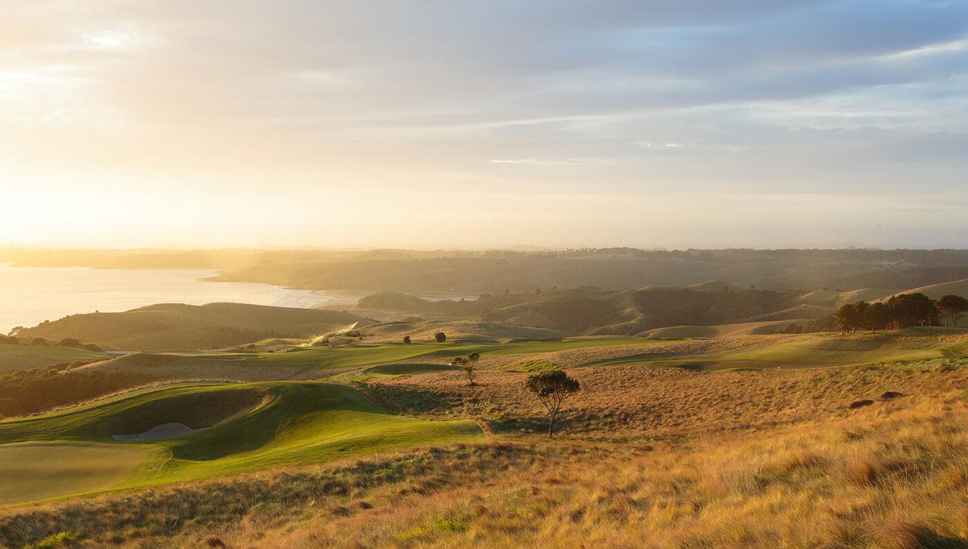 Landscape view of Robertson Lodge's Kauri Cliffs Golf Course
