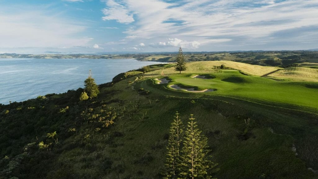 Drone image of the Kauri Cliffs Golf Course in New Zealand's North Islands