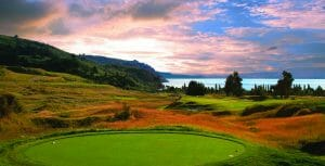 Landscape image of a colourful sky overlooking the Kincloch Club Golf Course, Taupo