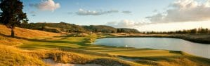 Landscape image of The Kinloch Club golf course and large lake, Taupo
