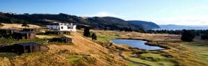 Landscape view of the Kinloch Golf Resort, New Zealand