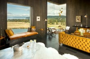 Contemporary furniture compliments expansive country views of Lake Taupo from The Kinloch Club