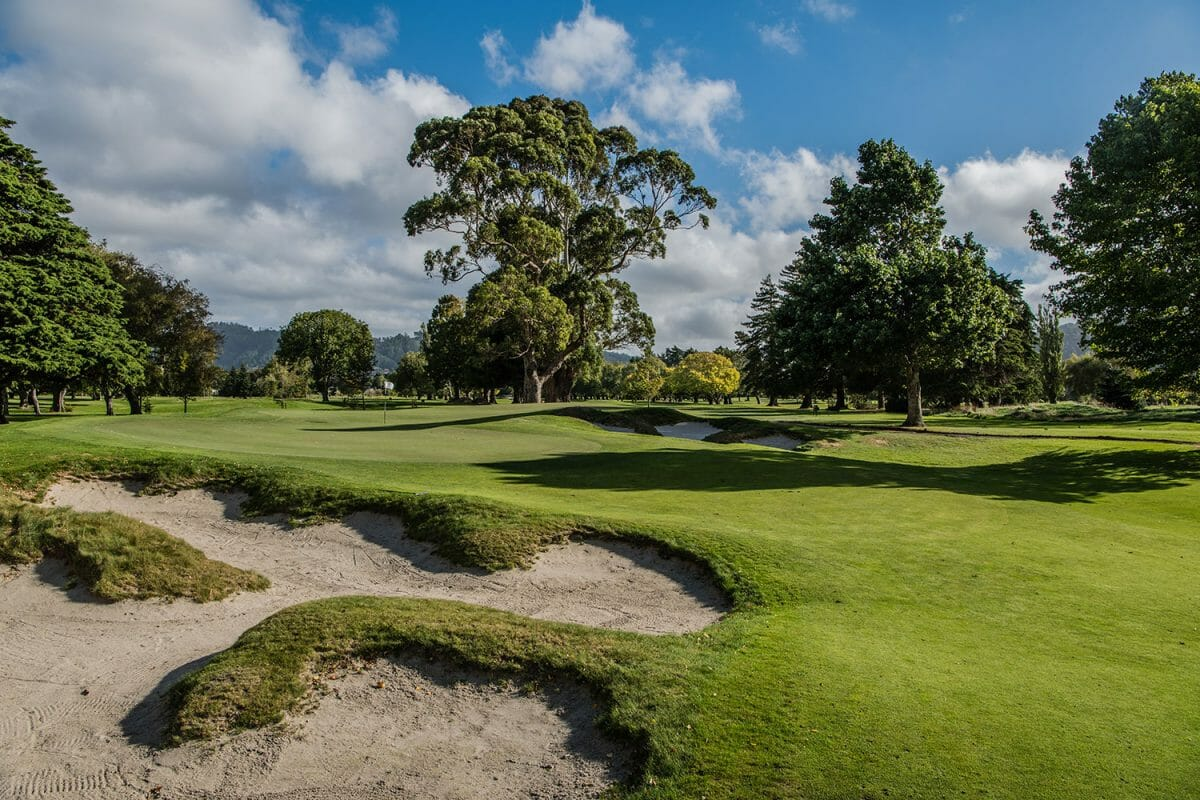 Large trees border golf course holes and greens at Royal Wellington Golf Club