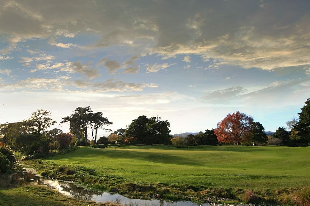 A stream meanders past a raised green on the seventh hole of the Royal Wellington Golf Club