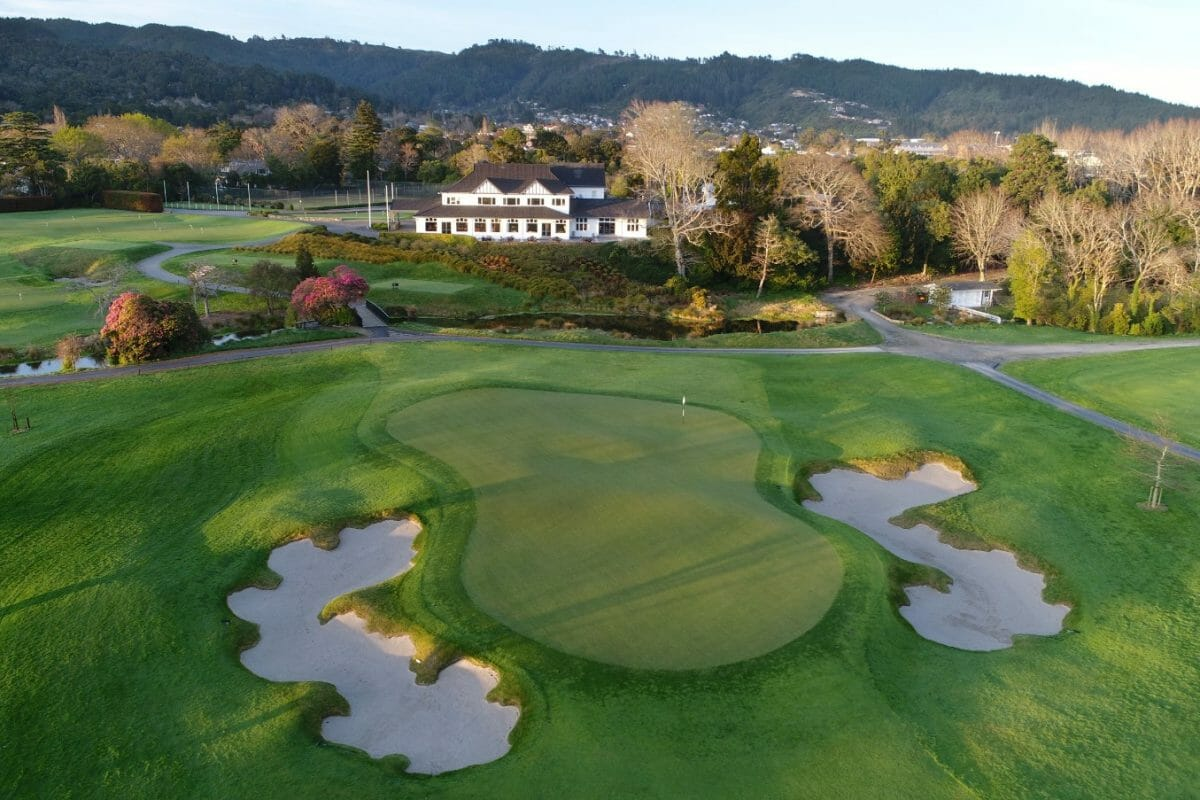 Drone view over the eighteenth green and clubhouse at Royal Wellington
