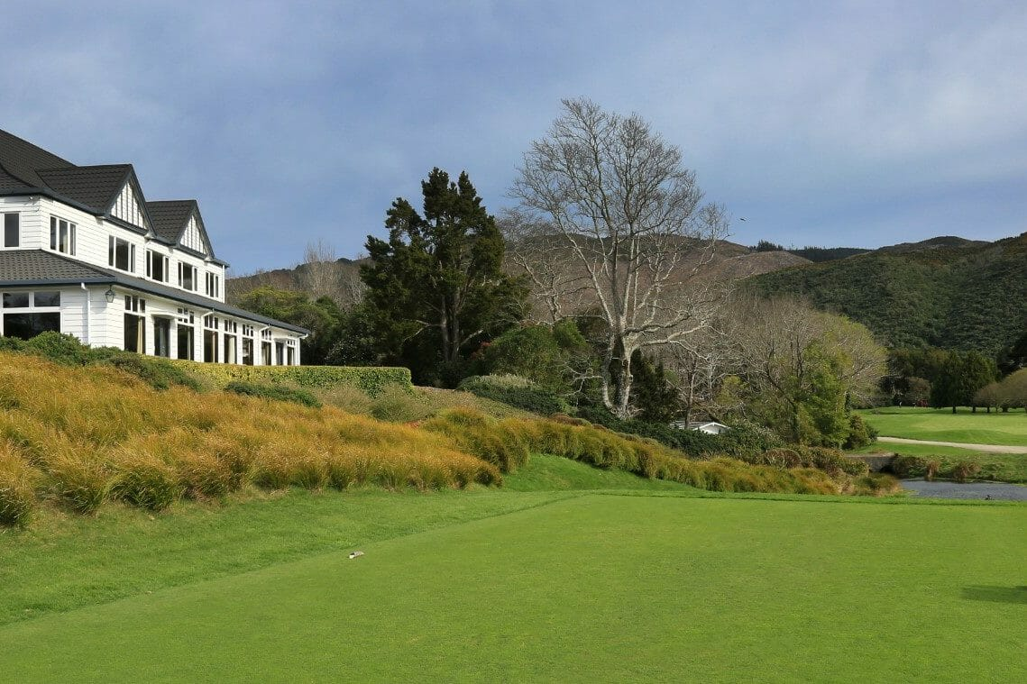 View of the clubhouse adjacent to the first tee on the Royal Wellington Golf Course