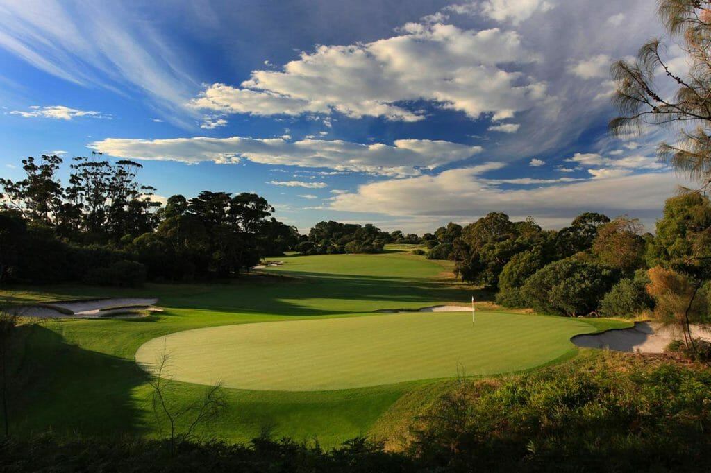 Well-manicured green surrounded by dense Australian bushland