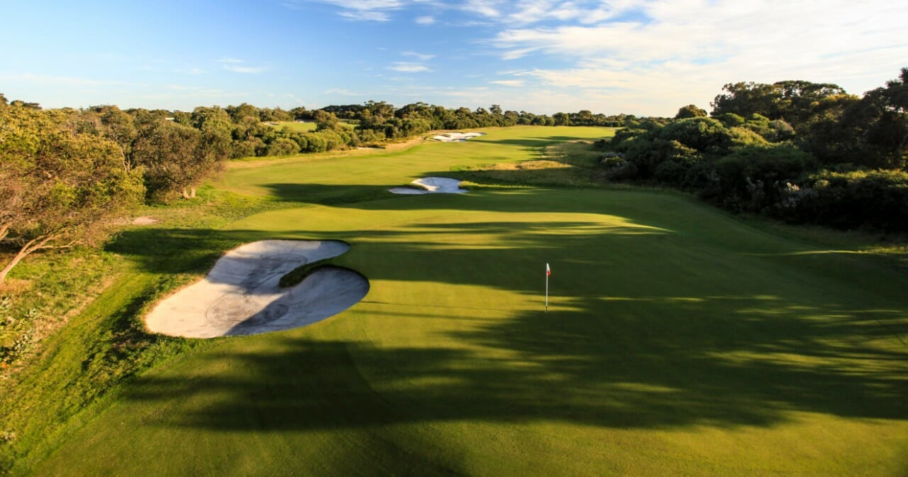 Long shadows fall over the Royal Melbourne West Golf Course